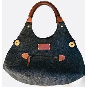 KATE SPADE College Hill Gray Wool Hobo Bag